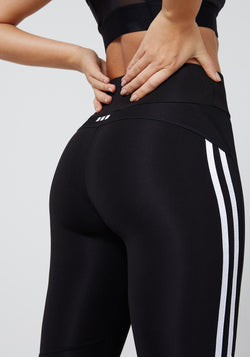fasheon Black High Waisted Double Side Stripe Leggings