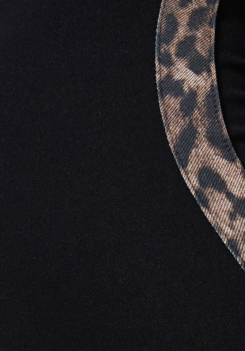 Detail of Black Leopard Tape Side Leggings