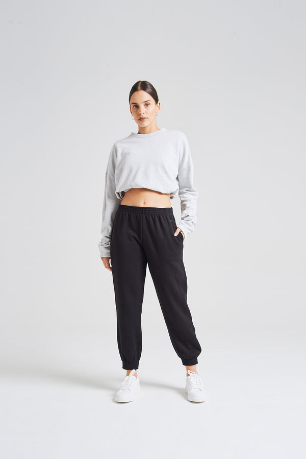 fasheon Black Womens Slogan Joggers