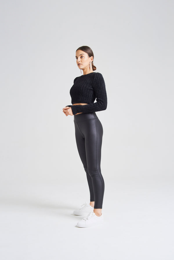 fasheon Black Faux Leather Look High Waisted Leggings