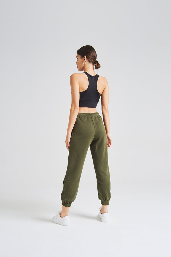fasheon Khaki Womens Slogan Joggers