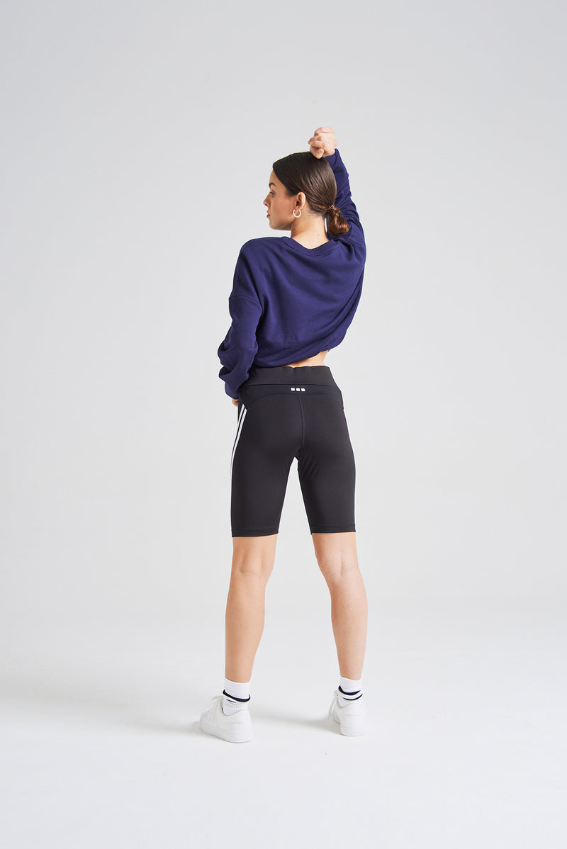 fasheon Black High Waisted Double Side Stripe Sports Shorts