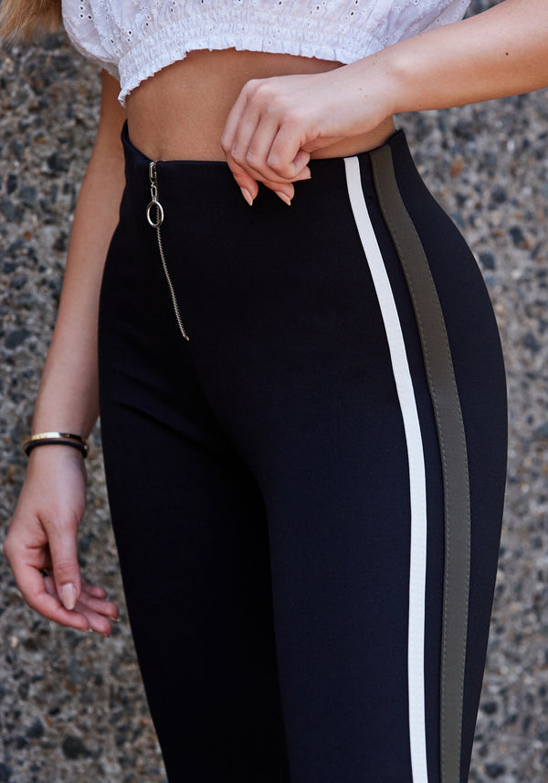 Black - Khaki High Waisted Zip Front Side Stripe Leggings