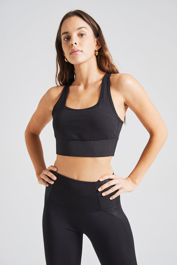 fasheon Black Racerback Sports Bra with Padding