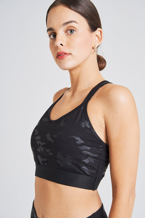 fasheon Racerback Camo Sports Bra with Double Strap Back Detail