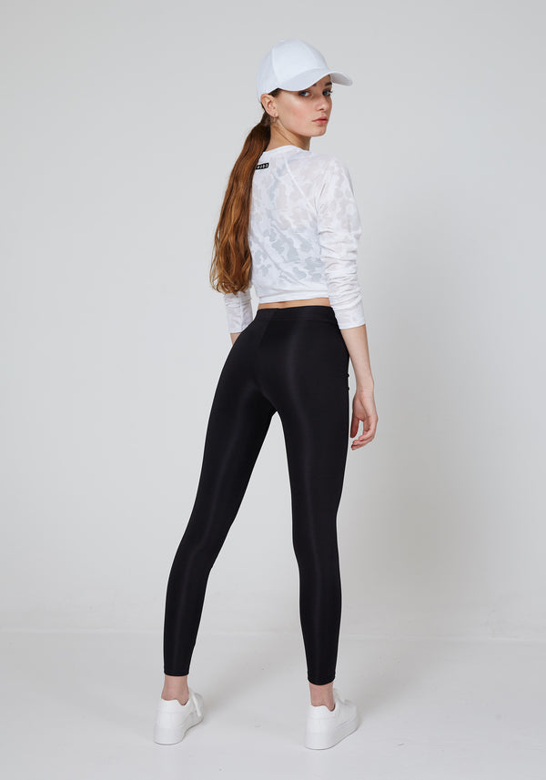 fasheon Black Shiny Slogan Leggings