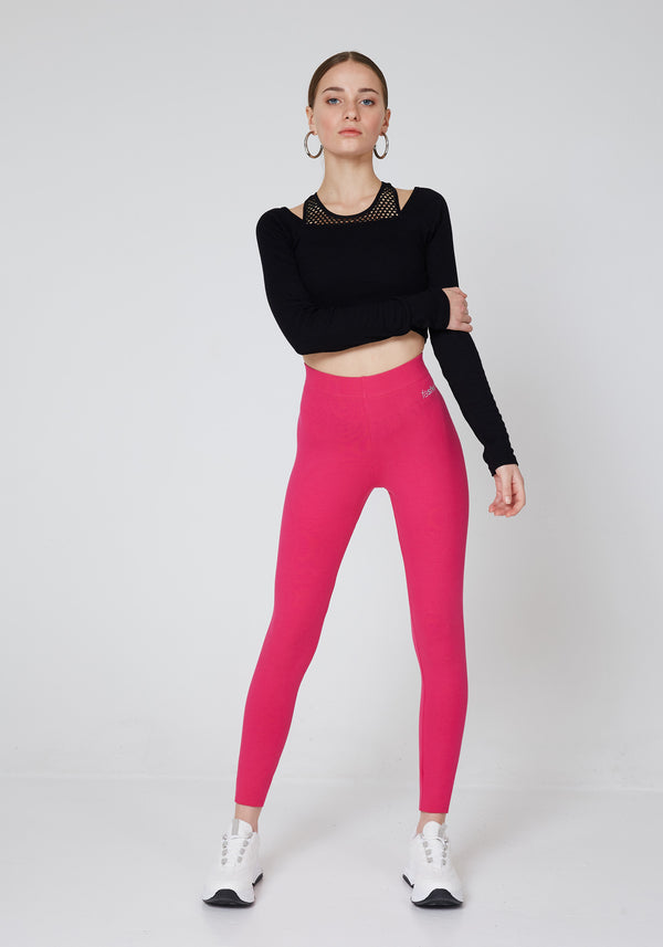 fasheon Pink Basic High Waisted Leggings