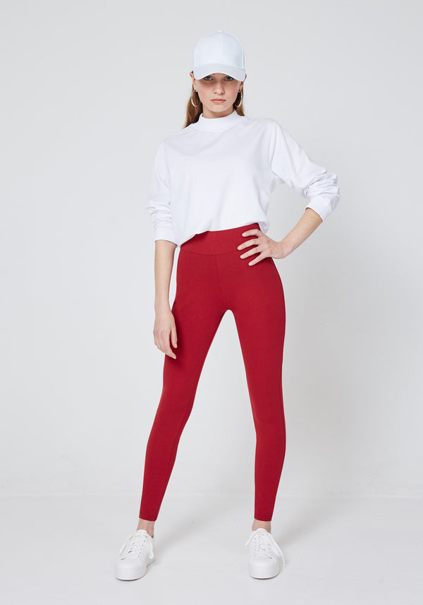 fasheon Red Classic High Waisted Leggings