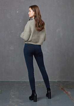 Back Look of Navy High Waisted Denim Leggings for Women
