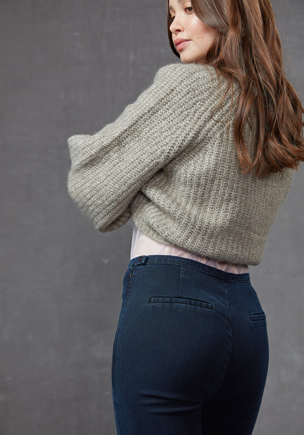 Back Detail of Navy High Waisted Denim Jeans for Women