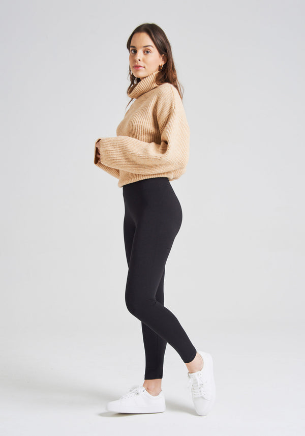 fasheon Black Classic High Waisted Ankle Length Leggings