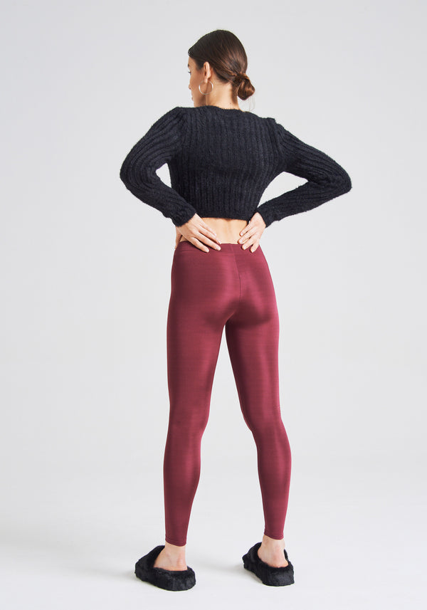 fasheon Burgundy Shiny High Waisted Leggings