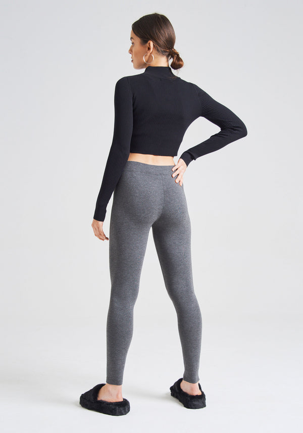 fasheon Dark Grey Basic Full Length Leggings