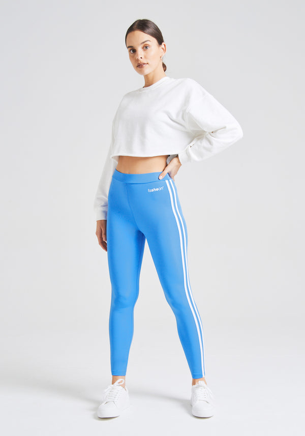 fasheon Blue Double Side Stripe Slogan Leggings