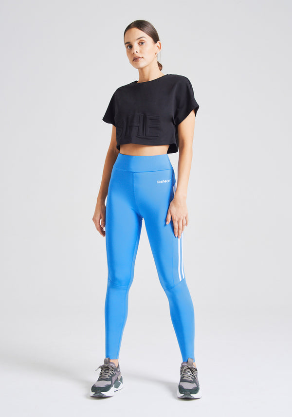 fasheon Blue High Waisted Double Side Stripe Leggings