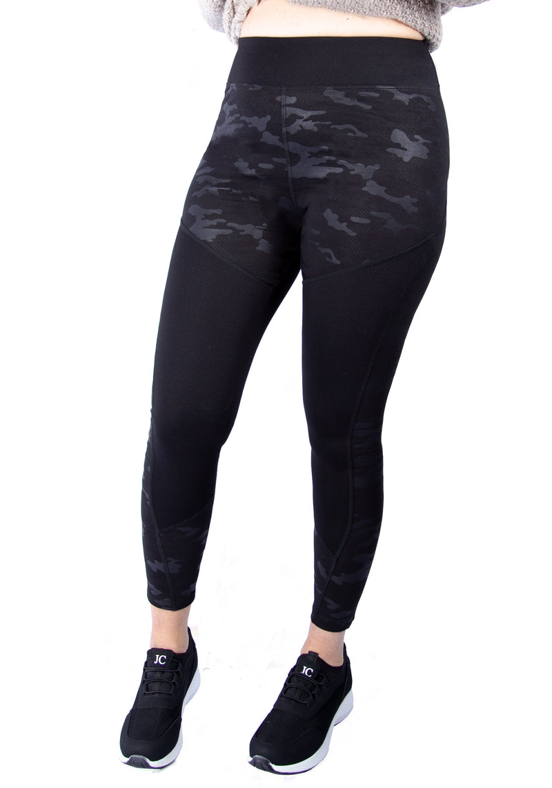 fasheon Black High Waisted Solid Camo Gym Leggings