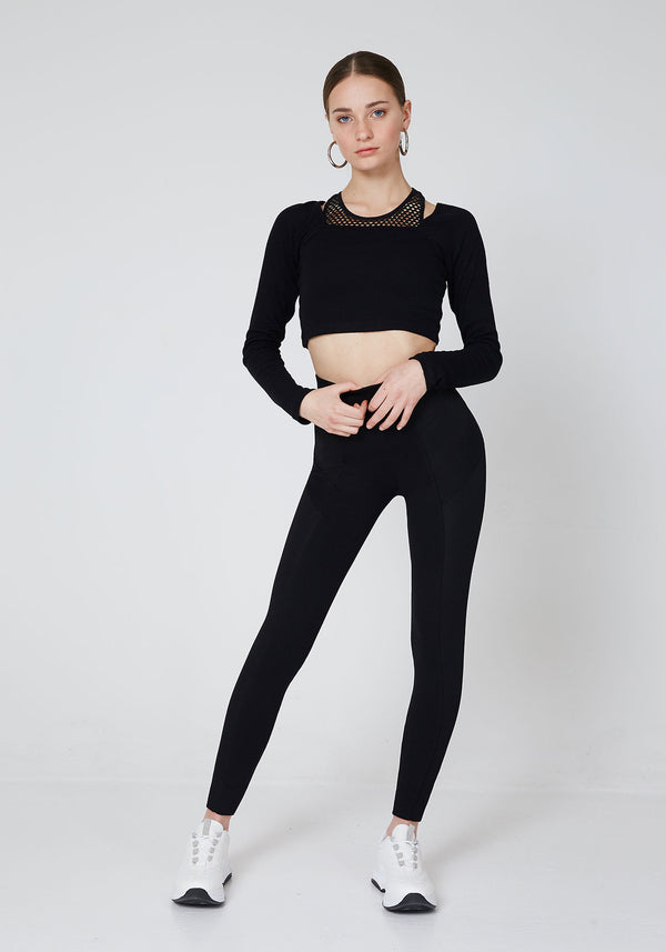 Front Look of Black Waistband Classic Leggings with Seam Panel