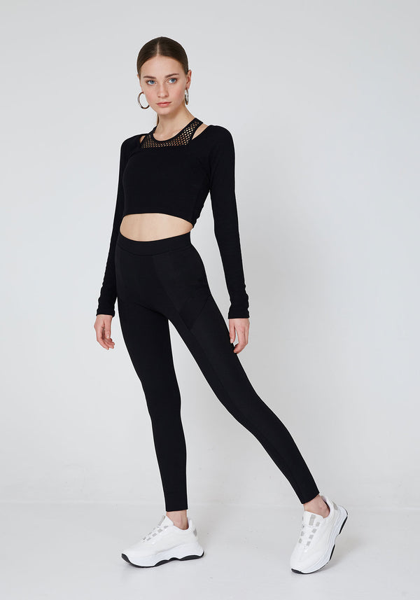Side Look of Black Waistband Classic Leggings with Seam Panel