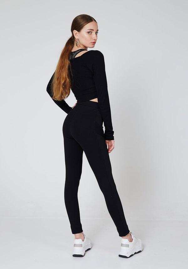 Back Look of Black Waistband Classic Leggings with Seam Panel