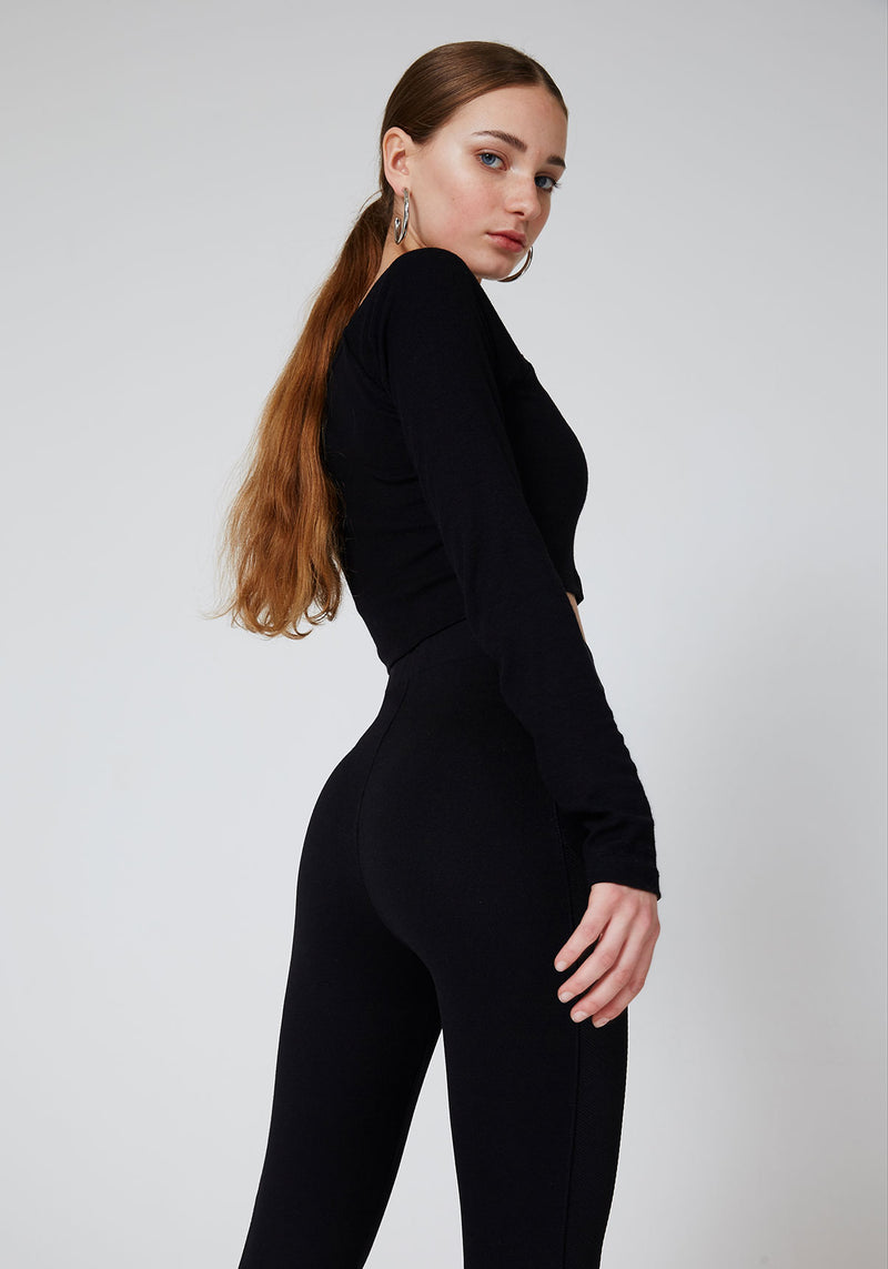 Black Waistband Classic Leggings with Seam Panel