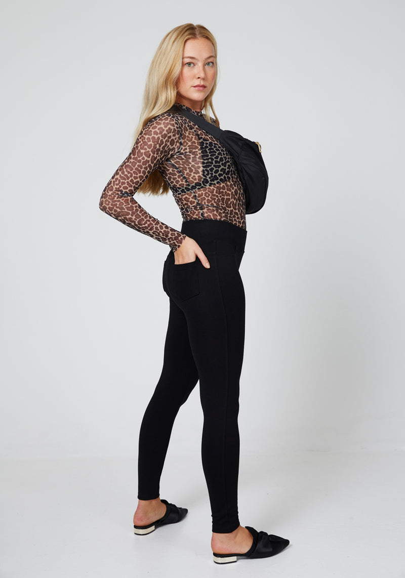 Black Back Pocket High Waisted Leggings for Women - Side Look