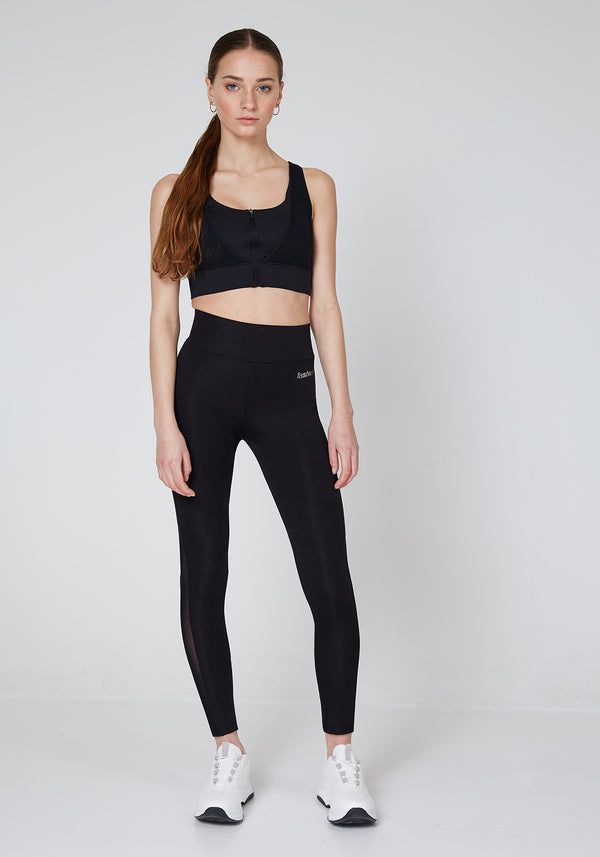 Black High Waisted Slogan Mesh Panel Sports Leggings