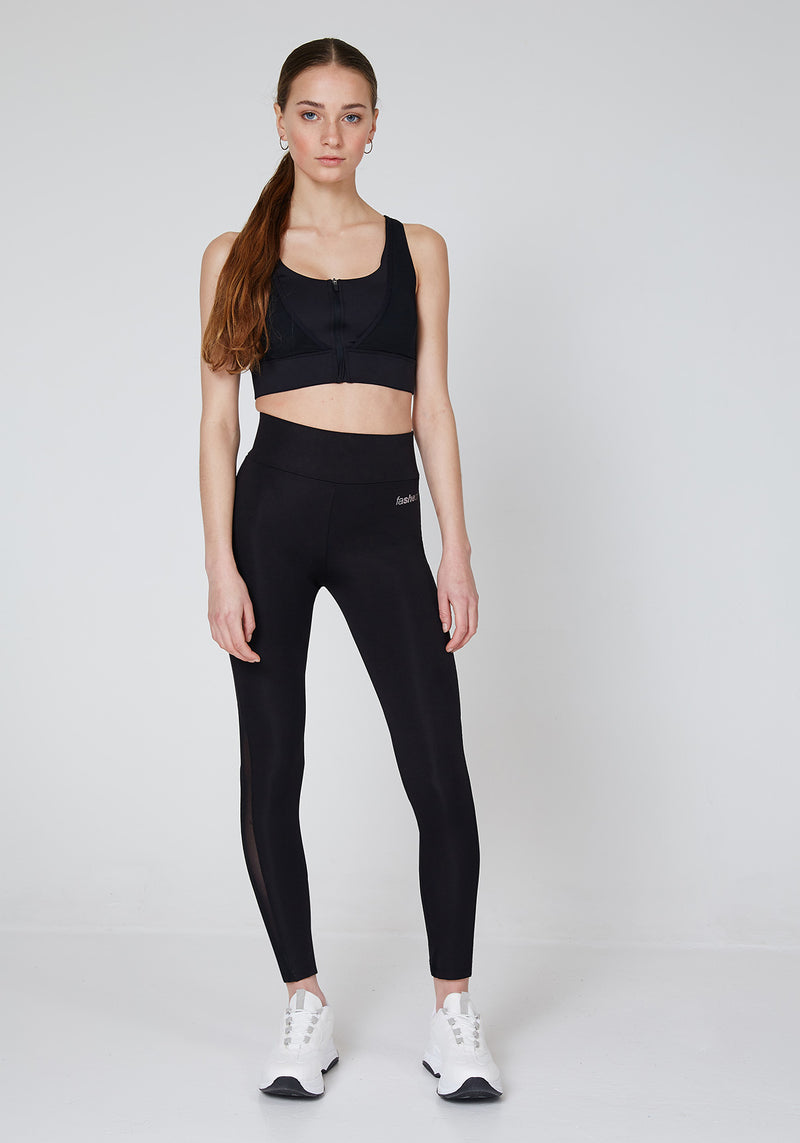Front Look of Black High Waisted Slogan Mesh Panel Sports Leggings for Women