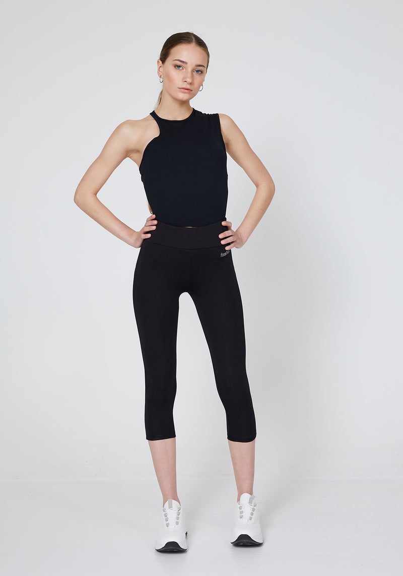 Black Slogan Cropped Gym Leggings