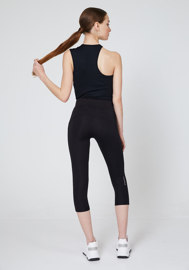 Back Look of Black Slogan Cropped Gym Leggings