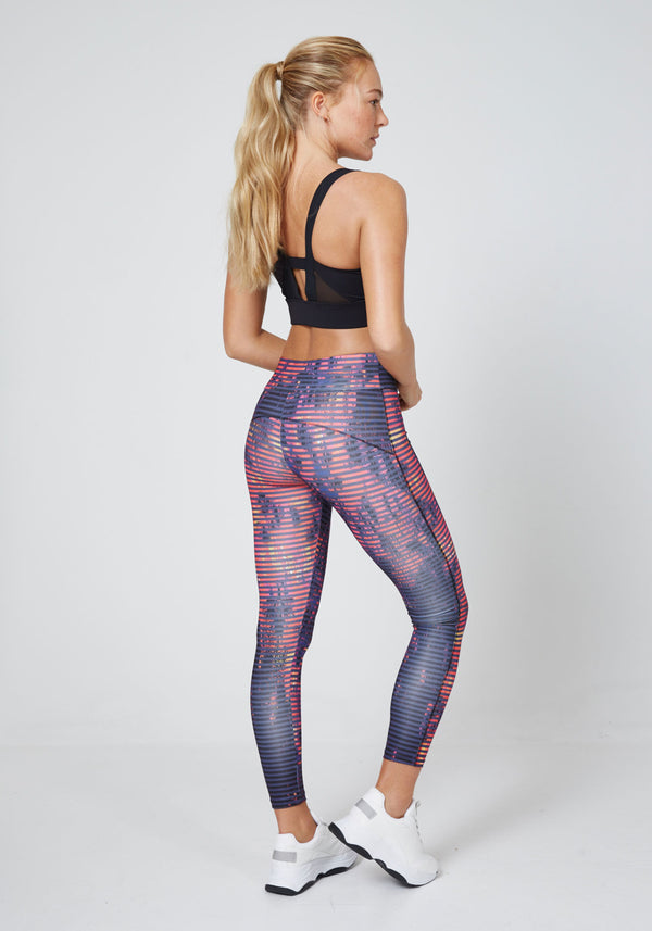 Multi Bold Print Wide Waistband Crop Sports Leggings