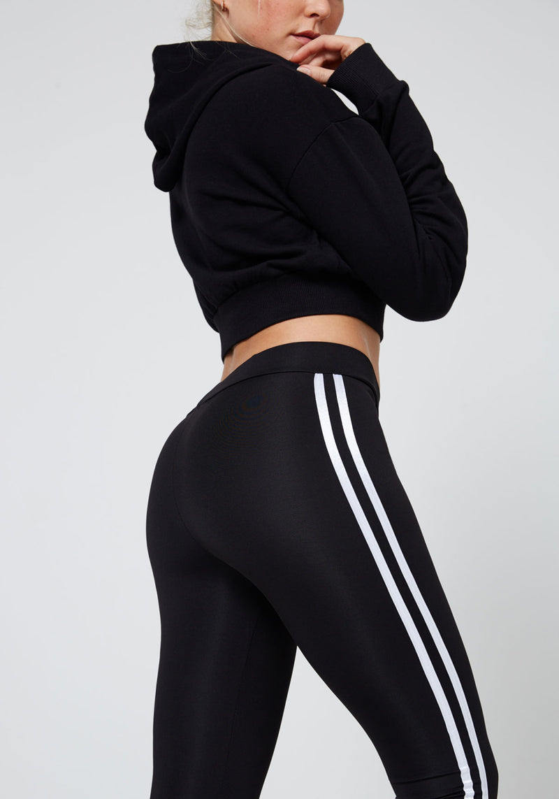 Black Double Side Stripe Slogan Leggings