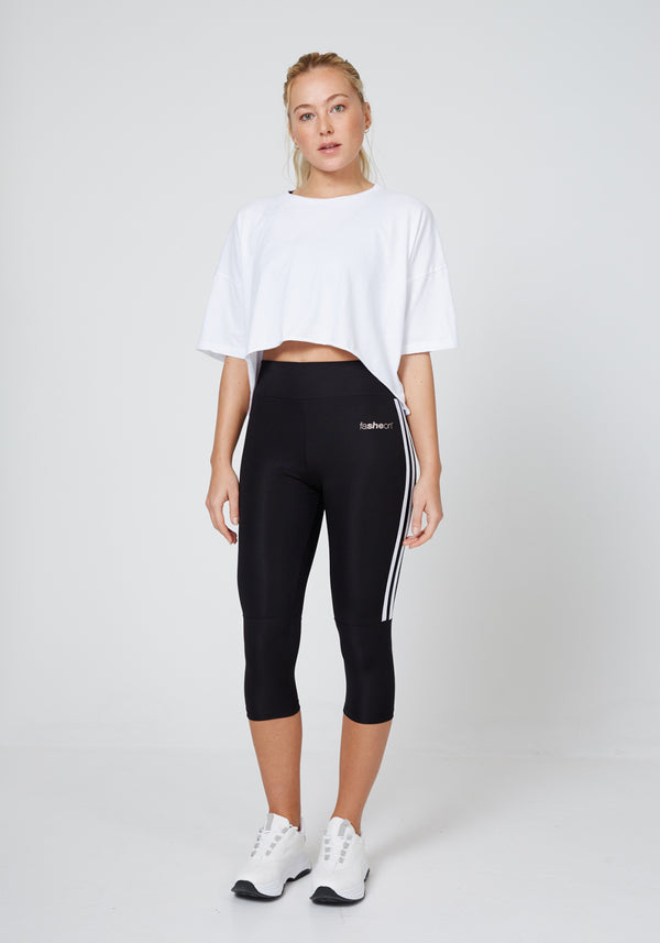 Full Look of Black - White Side Stripe Cropped Leggings