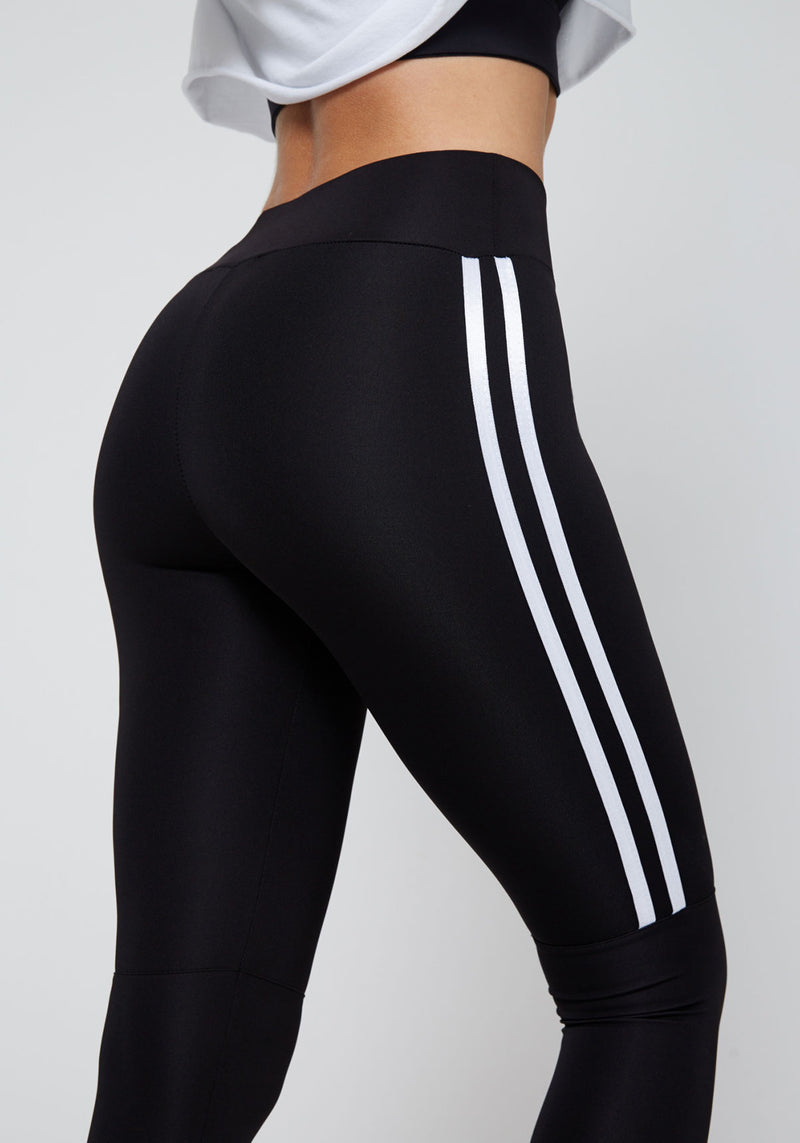 Black-White Double Side Stripe Cropped Leggings