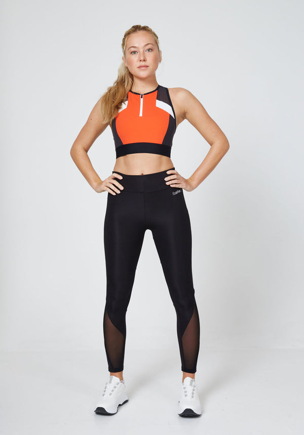 Black Slogan Mesh Panel Gym Leggings