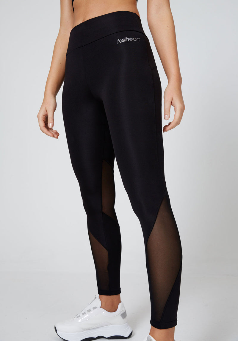 Side Look of Slogan Mesh Panel Gym Leggings