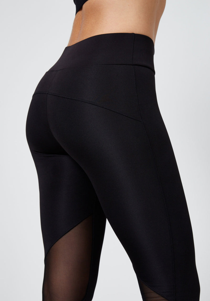 Detail of Black Slogan Mesh Pane; Gym Leggings for Ladies