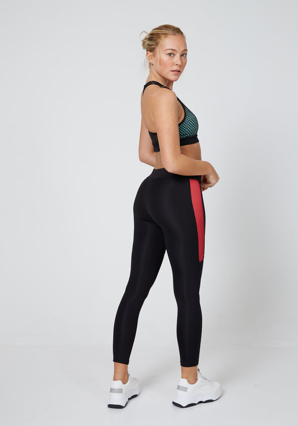 Black - Red Fishnet Side Sports Leggings