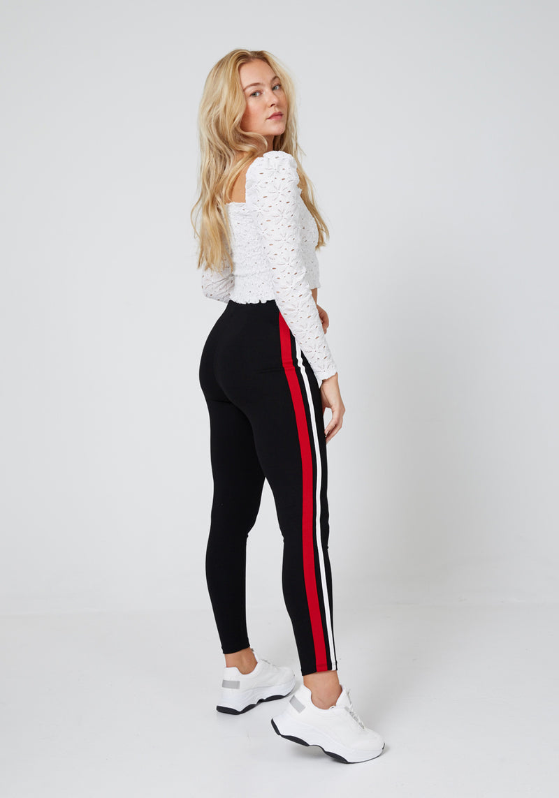 Back Look of Black High Waisted Zip Front Side Stripe Leggings