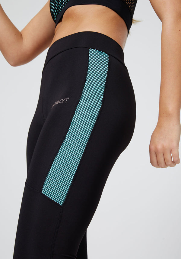 Black - Blue Fishnet Side Cropped Gym Leggings