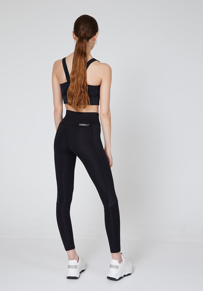 Back Look of Slogan Sports Leggings with Seam Detail
