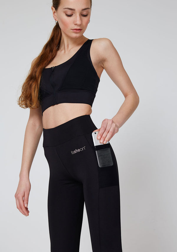 Black Side Pocket Mesh Bottom Sports Leggings