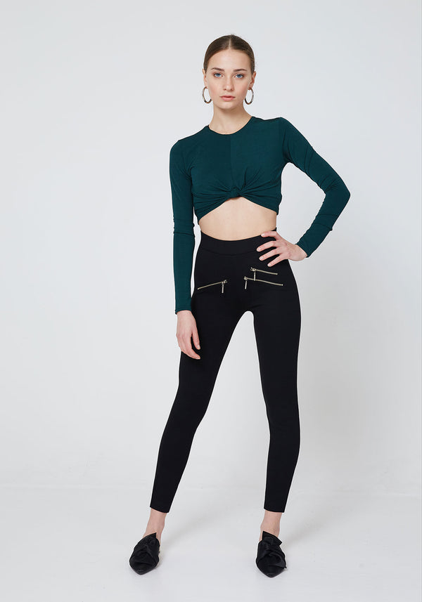 Front Look of Black High Waist Triple Zip Pocket Leggings