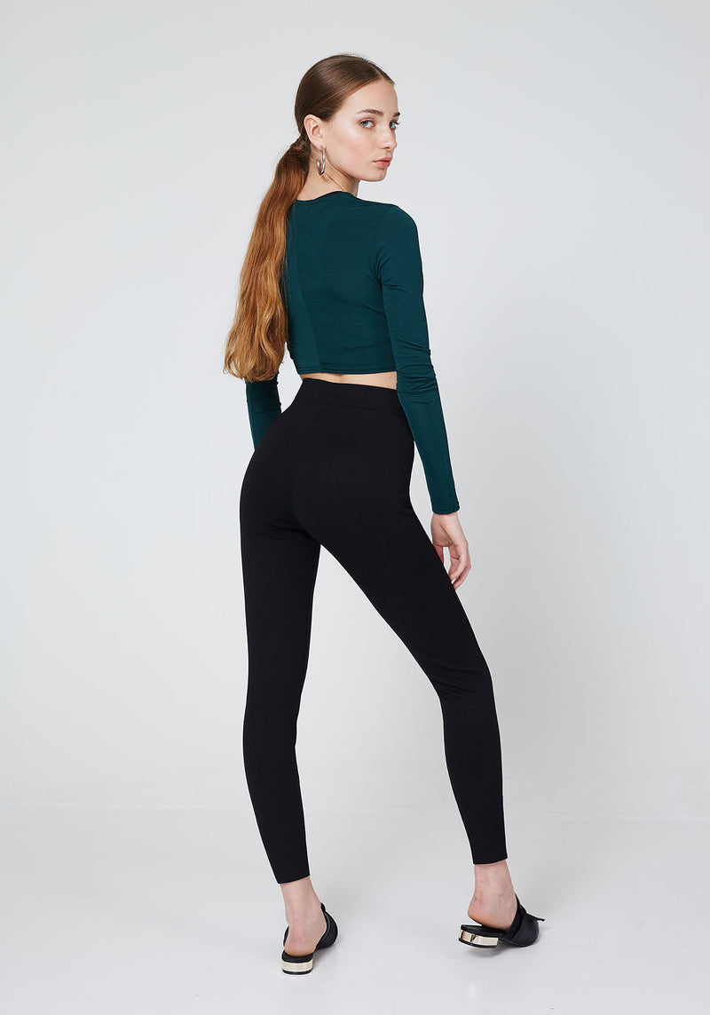 Back Look of Black High Waist Triple Pocket Leggings