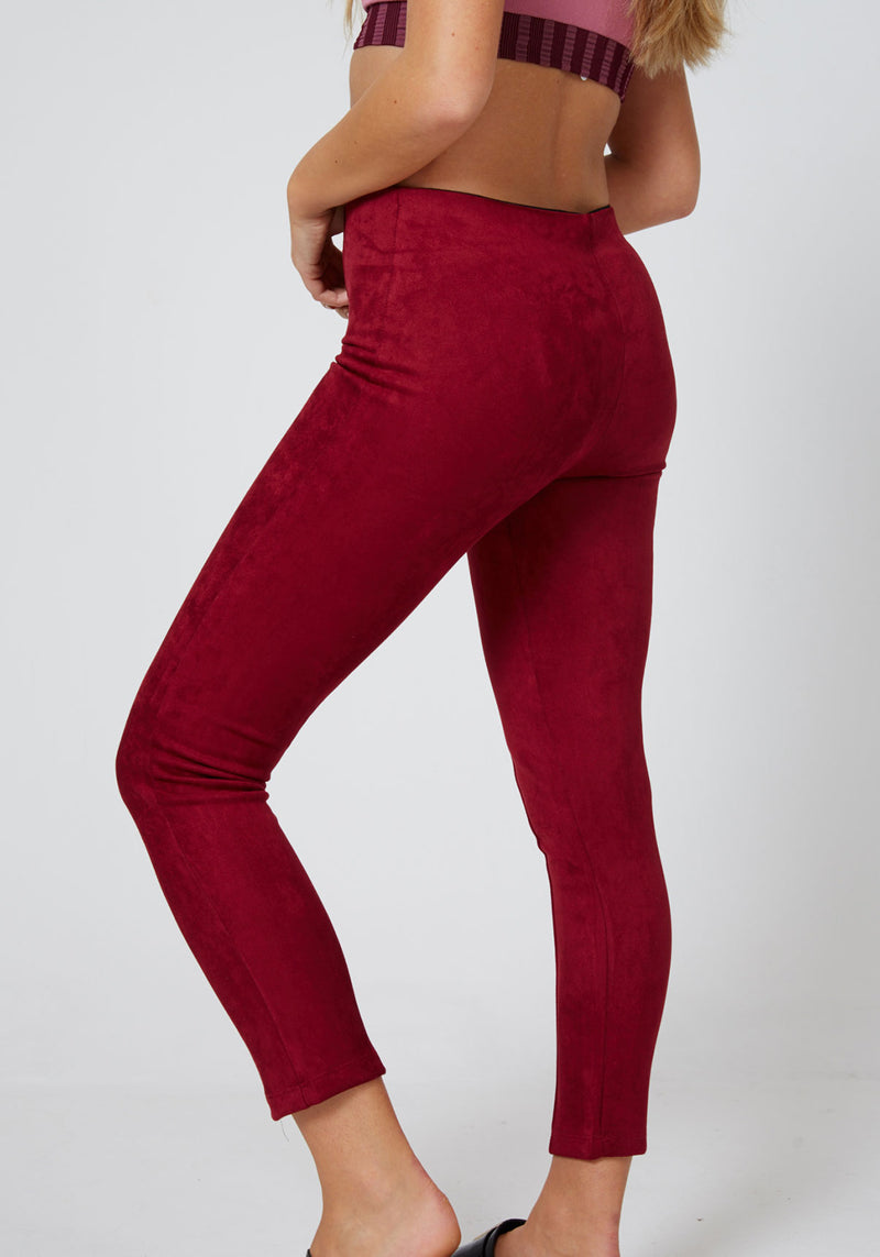 Fasheon Red High Waist Suede Leggings