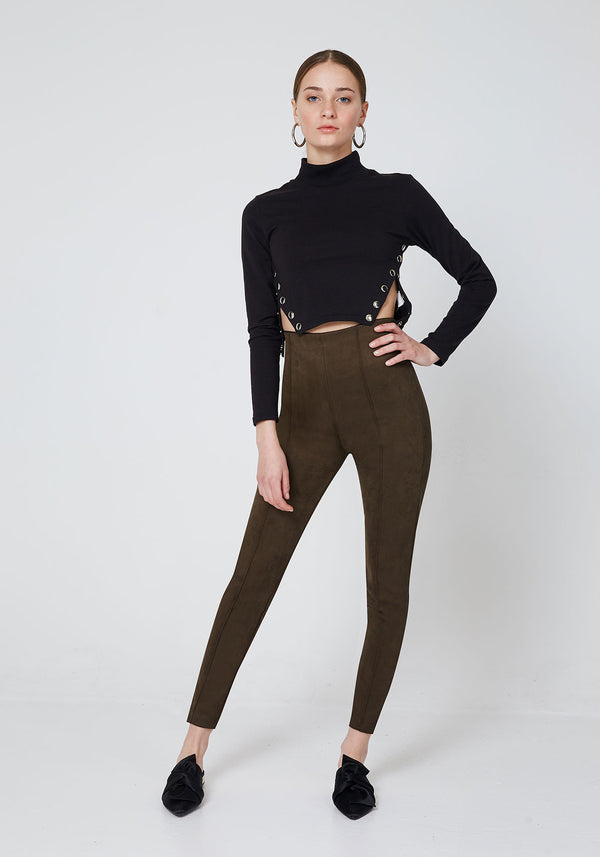 Khaki Faux Suede Seam Front Leggings for Women