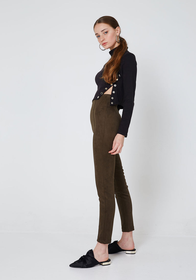 Side Look of Faux Suede Seam Front Leggings