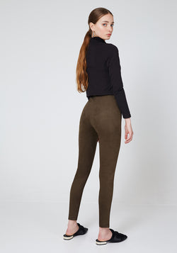 Back Look of Khaki Faux Suede Seam Front Leggings