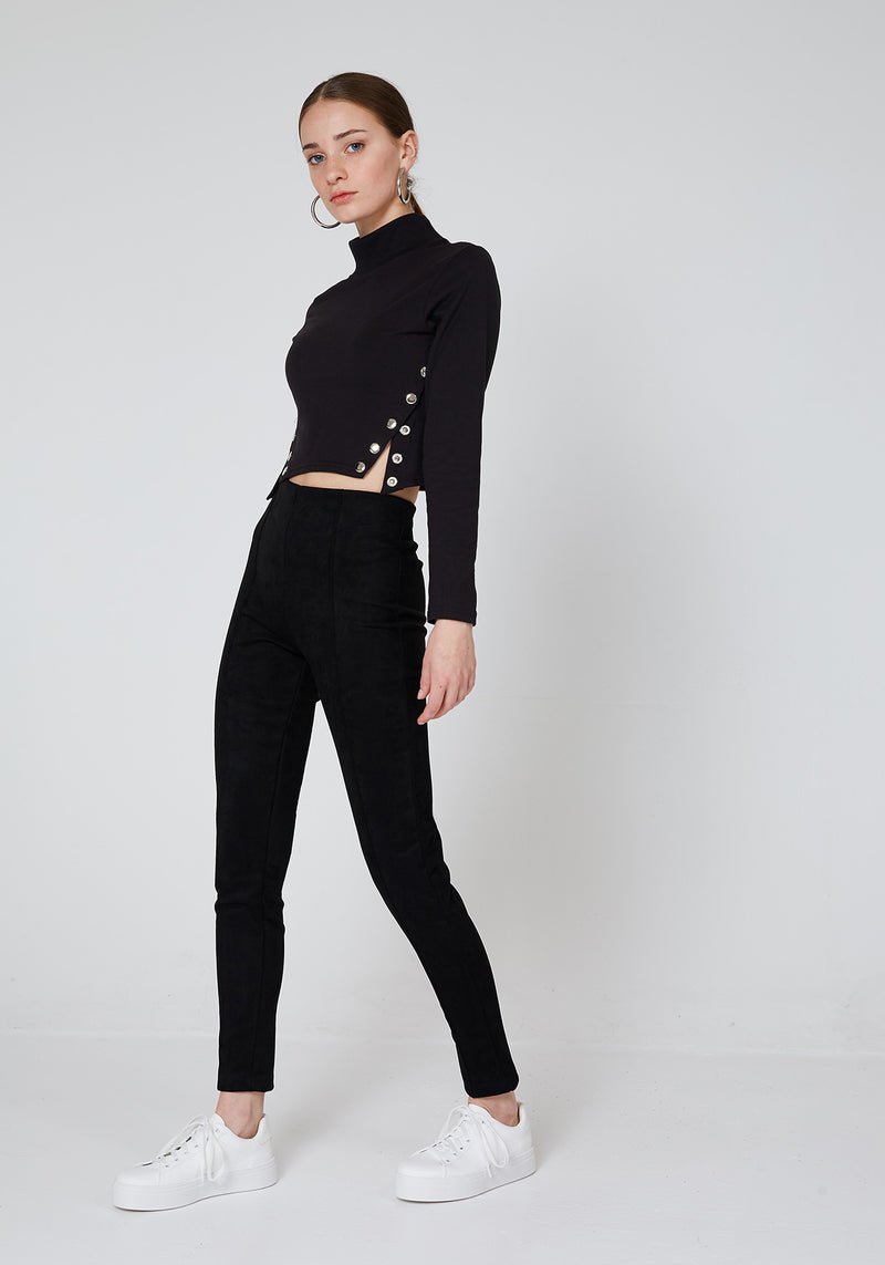 Side Look of Black High Waist Suede Leggings for Daily Wear