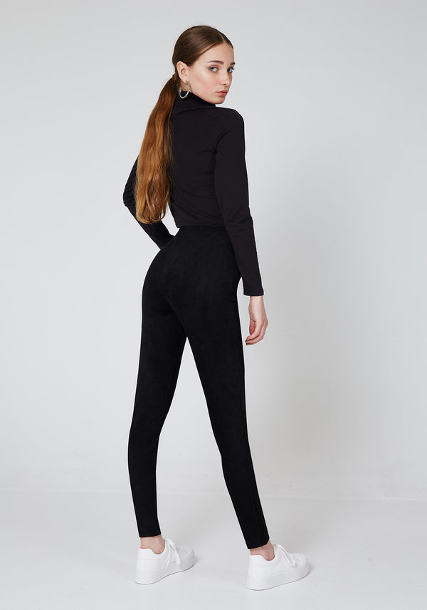 Back Look of Black High Waist Suede Leggings for Ladies