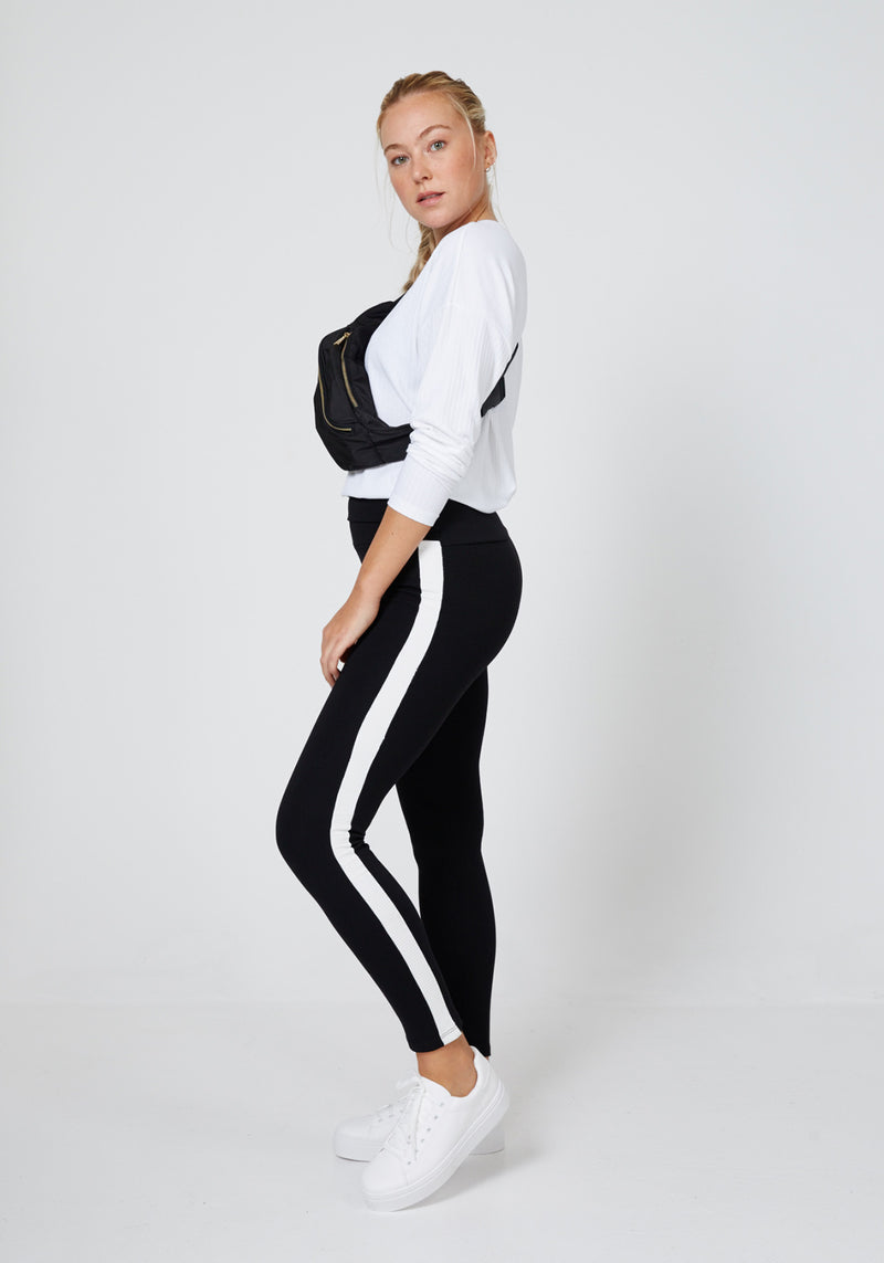 Side Look of Black Striped Side Tape High Waisted Leggings